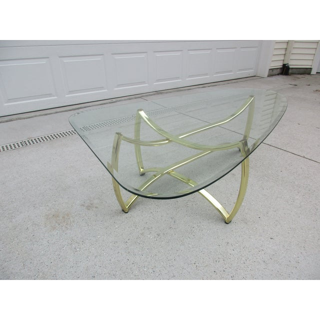 Hollywood Regency Oblong Brass and Beveled Glass Coffee Table For Sale - Image 3 of 10
