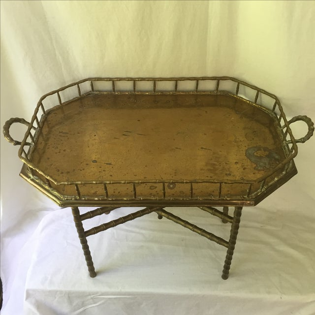Vintage Brass Bamboo Tray Table - Image 4 of 6