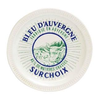 Vintage Mid Century Bleu d'Auvergne Surchoix Cheese Plate For Sale