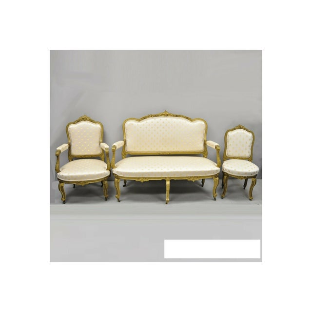 19th Century French Louis XV Style Gold Gilt Wood Parlor Salon Suite - 3 Pieces For Sale - Image 13 of 13