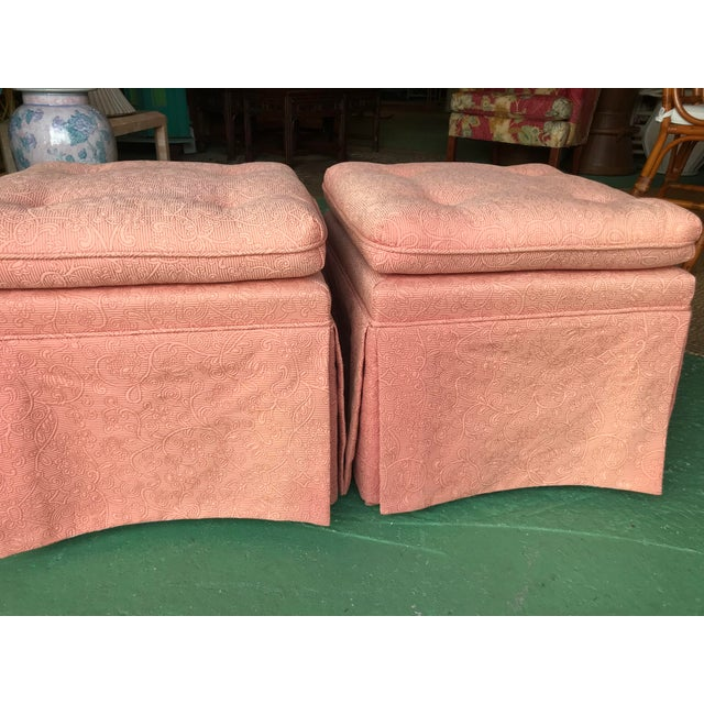 Vintage Pink Tufted Skirted Upholstered Ottomans-A Pair For Sale - Image 4 of 11