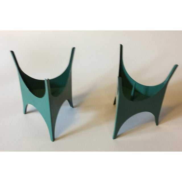 MCM Teal Metal Candlesticks - A Pair - Image 5 of 5