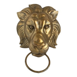 Americana Gold Lion Head Door Knocker For Sale