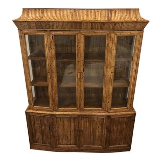 Mid-Century Rattan Bamboo Pagoda Breakfront / China Cabinet For Sale