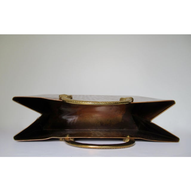 Vintage Hollywood Regency Copper & Brass Magazine Holder For Sale - Image 9 of 13