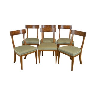 Old Colony Regency Style Vintage Set 6 Burl Wood Dining Chairs For Sale