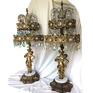 1969 Loevsky & Loevsky Waterfall Crystal Brass & Marble Table Chandeliers - a Pair Preview