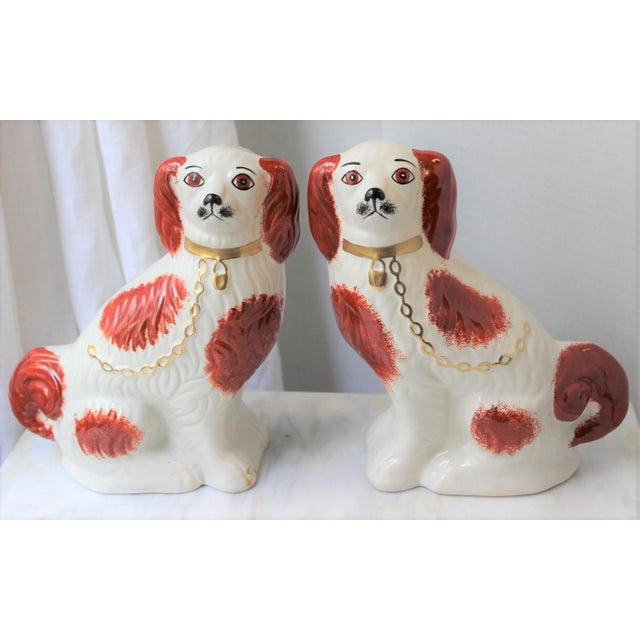 1950s Figurative Staffordshire Ceramic Spaniels Dogs - a Pair For Sale - Image 13 of 13