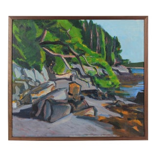 """Islesboro, Maine"" Coastal Landscape in Oil, 1988"