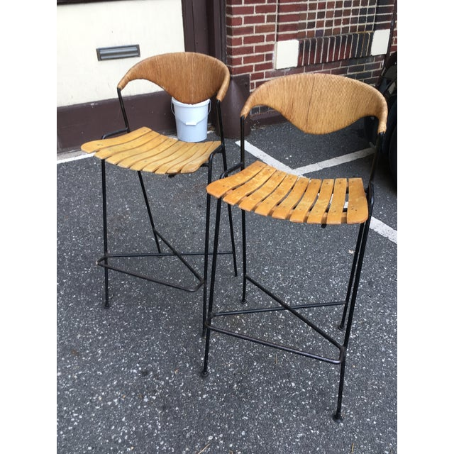 Vintage Mid Century Arthur Umanoff Counter Bar Stools - a Pair For Sale - Image 11 of 11