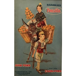 1920's Original Vintage Spanish Fruit Crate Label - Boy Leading Donkey (Naranjas Ponsita - Juan Pons - Tabernes De Valldigna) For Sale