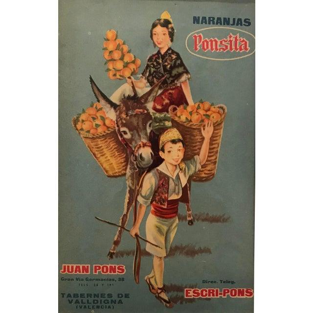 1920's Original Vintage Spanish Fruit Crate Label - Boy Leading Donkey (Naranjas Ponsita - Juan Pons - Tabernes De Valldigna) For Sale