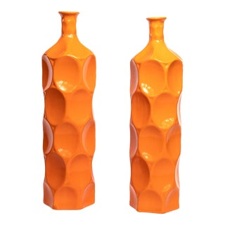 Mid-Century Faceted Orange Vases - a Pair For Sale