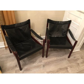 1970s Vintage Swedish Johanson Design Mahogany Leather Safari Chairs- a Pair Preview