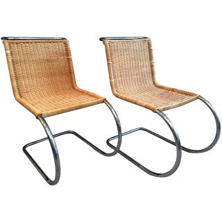 Mies van der Rohe MR10 Wicker & Chrome Chairs