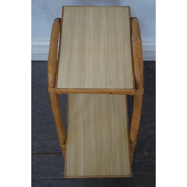 Vintage Vogue Rattan 2 Tier Side Tables - a Pair For Sale - Image 9 of 10
