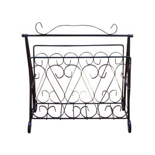 Deco Hollywood Regency Wrought Iron Magazine Rack For Sale