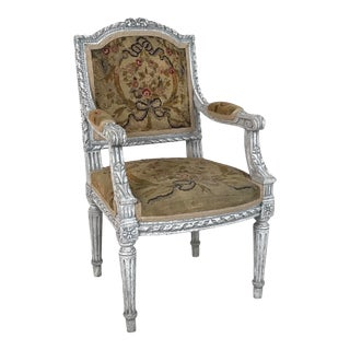 1940s French Louis XVI Style Child's of Doll's Armchair Attributed to Maison Jansen For Sale