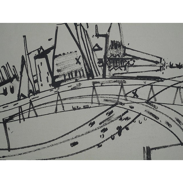 This modernist ink drawing by the listed American artist Robert Knipschild depicts an abstracted New jersey turnpike. It...