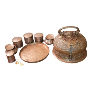Antique Indian Hammered Copped & Bronze Herb & Spice Betel Nut Paan-Daan Stash Box - Complete Set For Sale