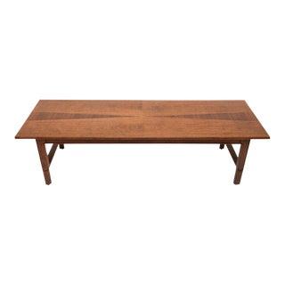 Mid-Century Modern Walnut John Stuart Janus Collection Long Board Coffee Cocktail Table For Sale
