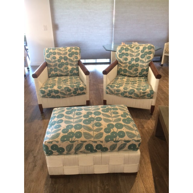Donghia Block Island 2 Armchairs and Ottoman W/New Goose Down Pillows - Image 2 of 8