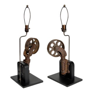 Pair of Mounted Caster Table Lamps For Sale