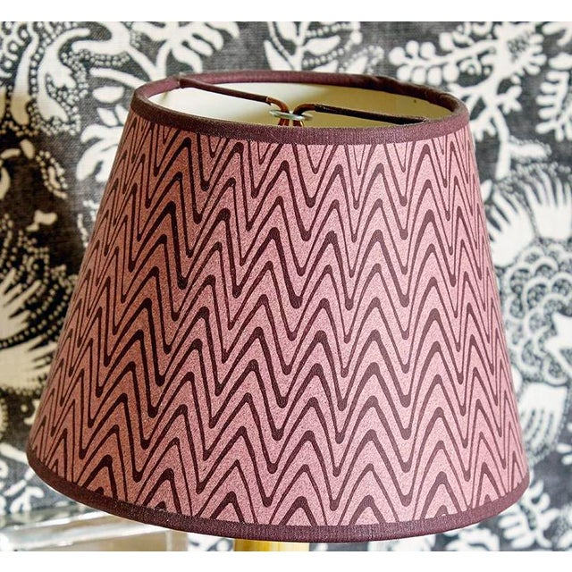 Rita Konig Exclusive Hand Painted Lampshade in Puce Zig Zag For Sale - Image 4 of 4