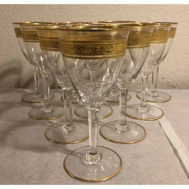 Baccarat Mid 20th Century Baccarat French Gilt Crystal Directoire Style Glassware - Set of 40 For Sale - Image 4 of 13