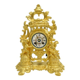 19th Century French Rocaille Gilt Dore Bronze Clock For Sale