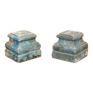 Pair of Early 1800's Goa Stone Aged Blue Stone Bases For Sale