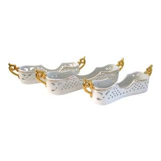 White Porcelain & Gold Flatware Caddies - Set of 3 For Sale