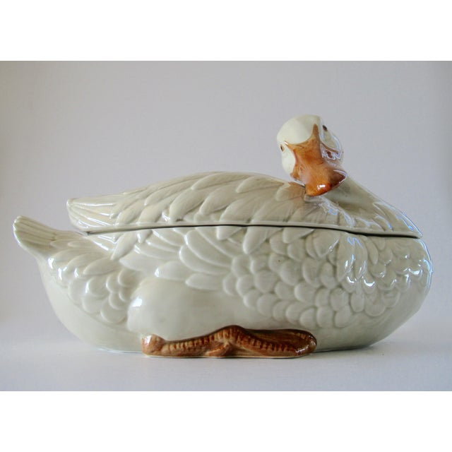 1980s Vintage Fitz & Floyd Duck Ceramic Soup Tureen With Ladle For Sale - Image 5 of 13