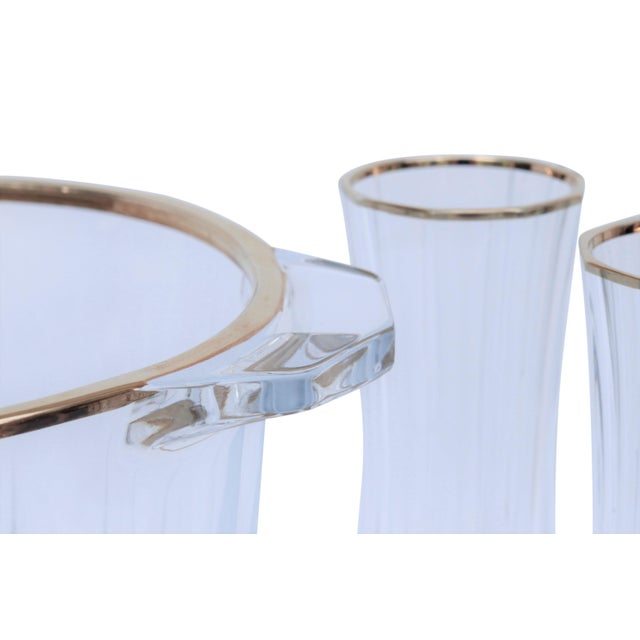 Cut Glass Champagne Bucket & 4 Champagne Flutes For Sale - Image 4 of 9