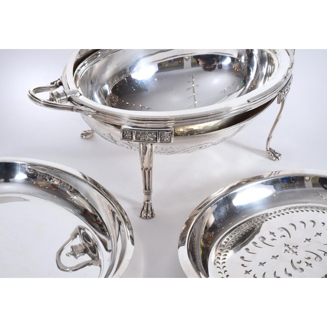 Vintage English Silver Plate / Copper Footed Tableware Server For Sale In New York - Image 6 of 11