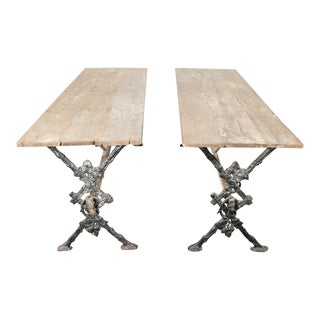 1900s French Cast Iron Base and Washed Oak Top Bistro Tables - a Pair For Sale