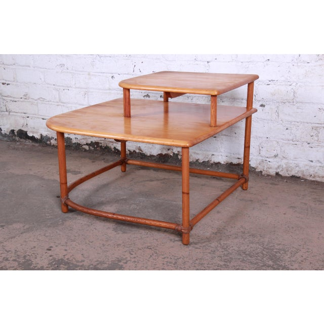 Heywood Wakefield Mid-Century Modern Rattan Corner End Table For Sale In South Bend - Image 6 of 10