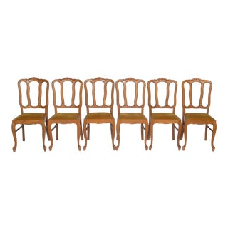 Set of 6 Louis XV Dining Chairs With Gold Upholstery For Sale