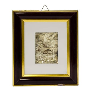 """""""Cityscape"""" Silvered Relief Plaque by Captinelli For Sale"""