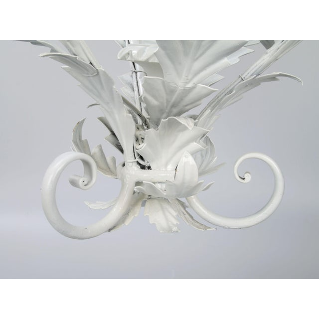 Italian Metal Flower Leaf Chandelier For Sale - Image 9 of 10