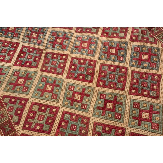 Contemporary Geometric Wool Kilim Rug - 3′5″ × 10′5″ For Sale - Image 4 of 6