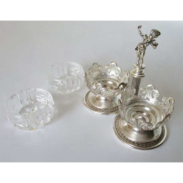 Transparent Vintage English Silver Plate Dual Salt & Pepper, Salt Serving Cellars W/Winged Cupid Figure - 3 Pieces For Sale - Image 8 of 13