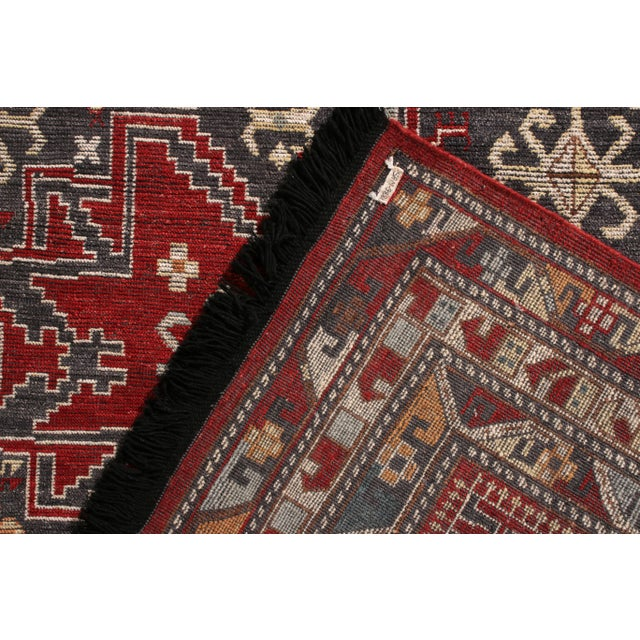 2010s Rug & Kilim's Classic Style Rug in Red and Blue Geometric Pattern For Sale - Image 5 of 5
