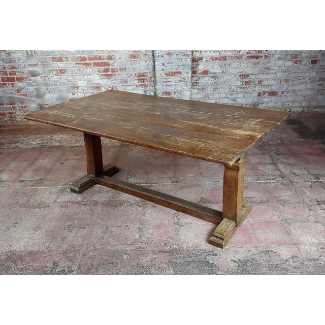 19th Century Farmhouse Trestle Dining Oak Table For Sale - Image 10 of 10
