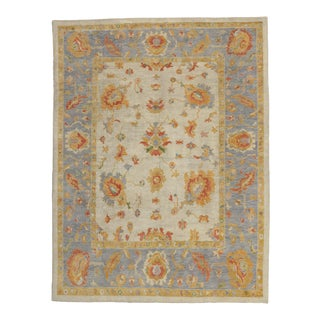 Contemporary Turkish Pastel Oushak Rug - 9′3″ × 12′3″ For Sale
