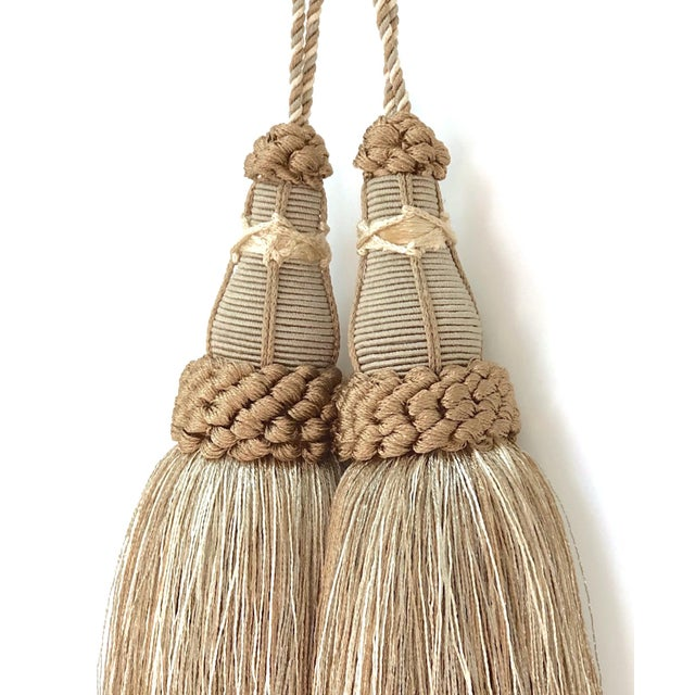 French Provincial Key Tassels in Khaki and Bronze With Ruche Trim - a Pair For Sale - Image 3 of 12