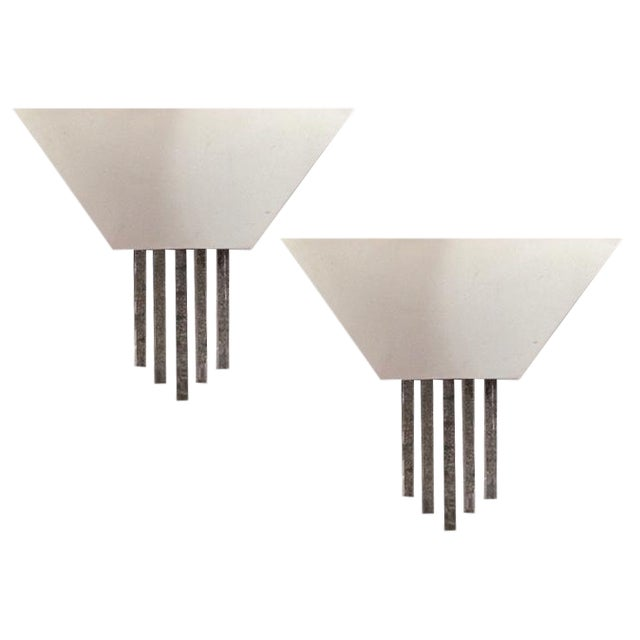 Contemporary Chrome Wall Sconces - A Pair - Image 1 of 6