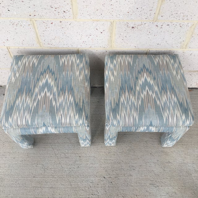 Vintage Parsons Stools Upholstered in Designer Flame Stitch Fabric - a Pair - Image 3 of 8
