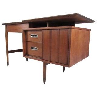 Mid-Century American Walnut Floating Top Desk by Hooker For Sale