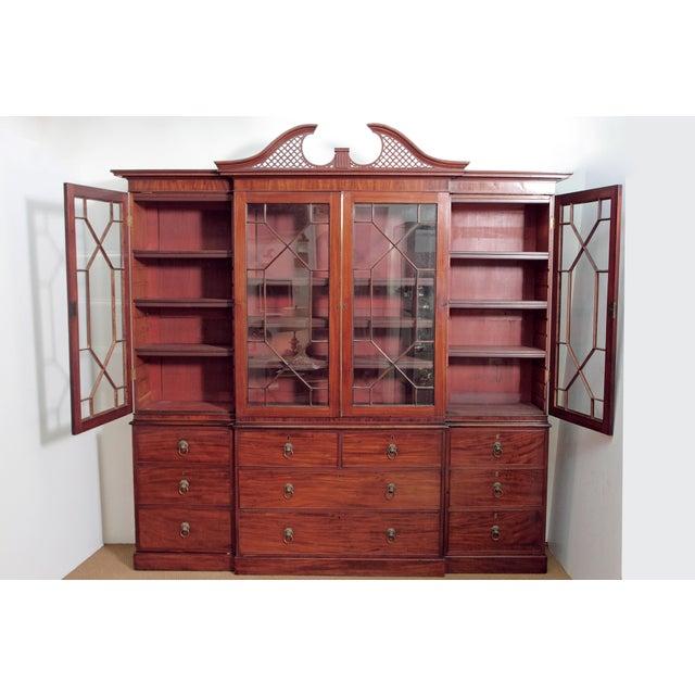 Elegant Period George III Mahogany Breakfront Bookcase - Image 10 of 11